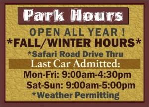 Arbuckle Wilderness Park Fall / Winter Hours 2019