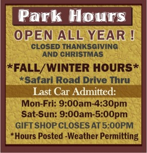 Arbuckle Wilderness Park Fall/ Winter-2021 Hours